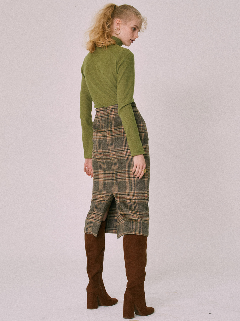 18W CHECK MIDI SKIRT(BROWN)