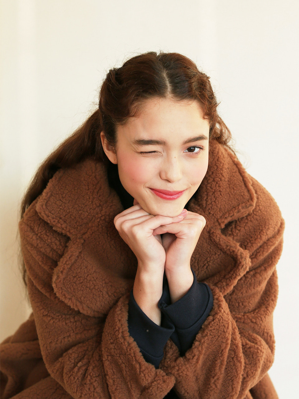 LH TEDDY BEAR BUTTON COAT(BROWN)