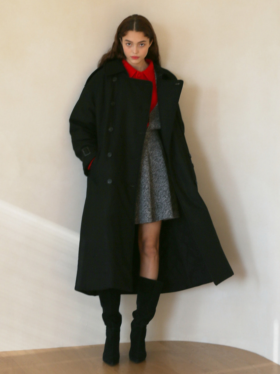 LH PADDED TRENCH COAT(BLACK)