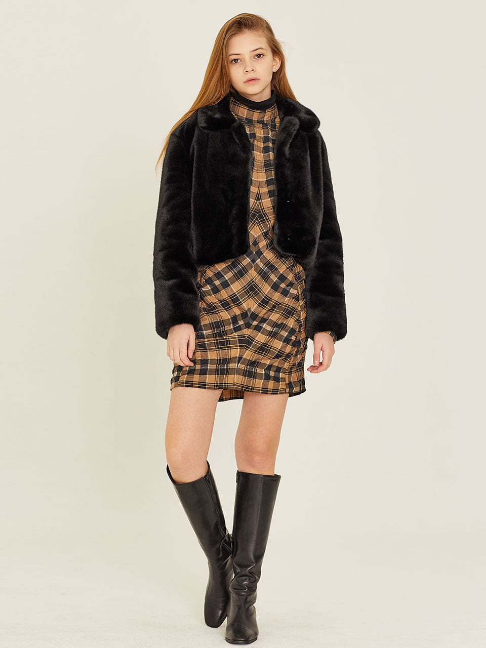 W SHORT FUR JACKET(BLACK)