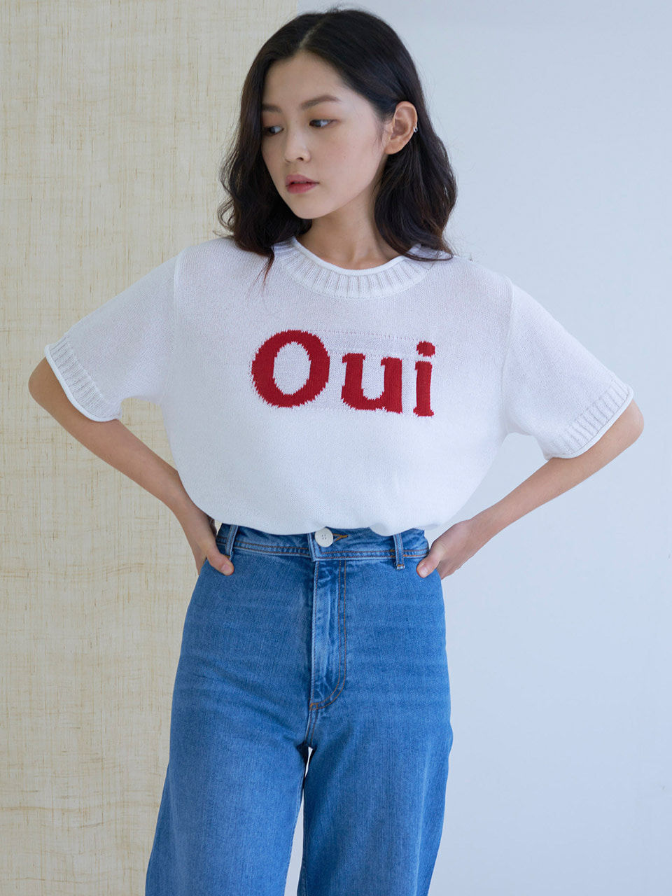 MTOF4 OUI KNIT TOP(RED)