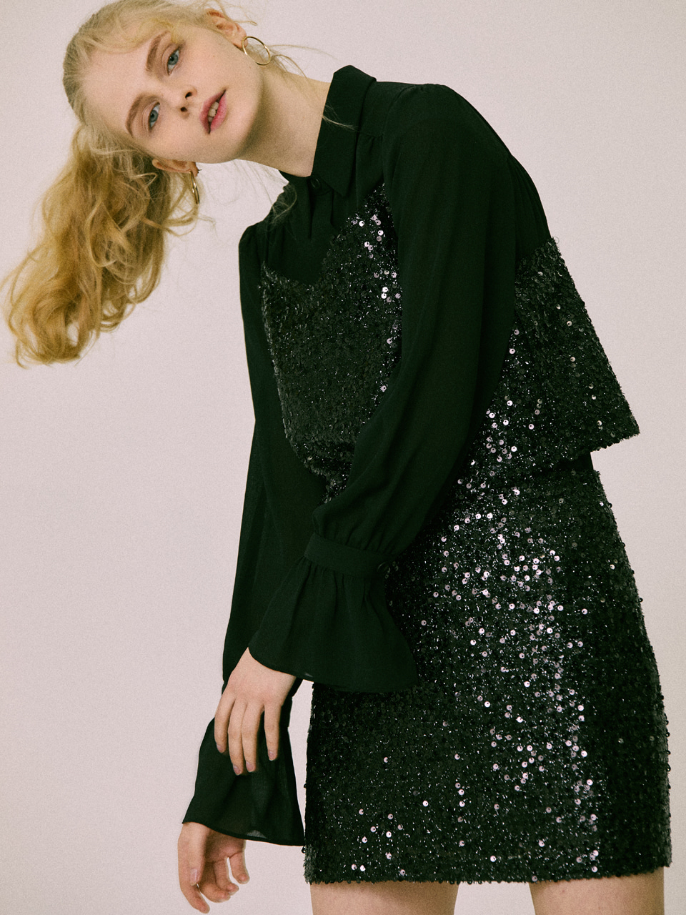 18W SEQUIN SKIRT(BLACK)
