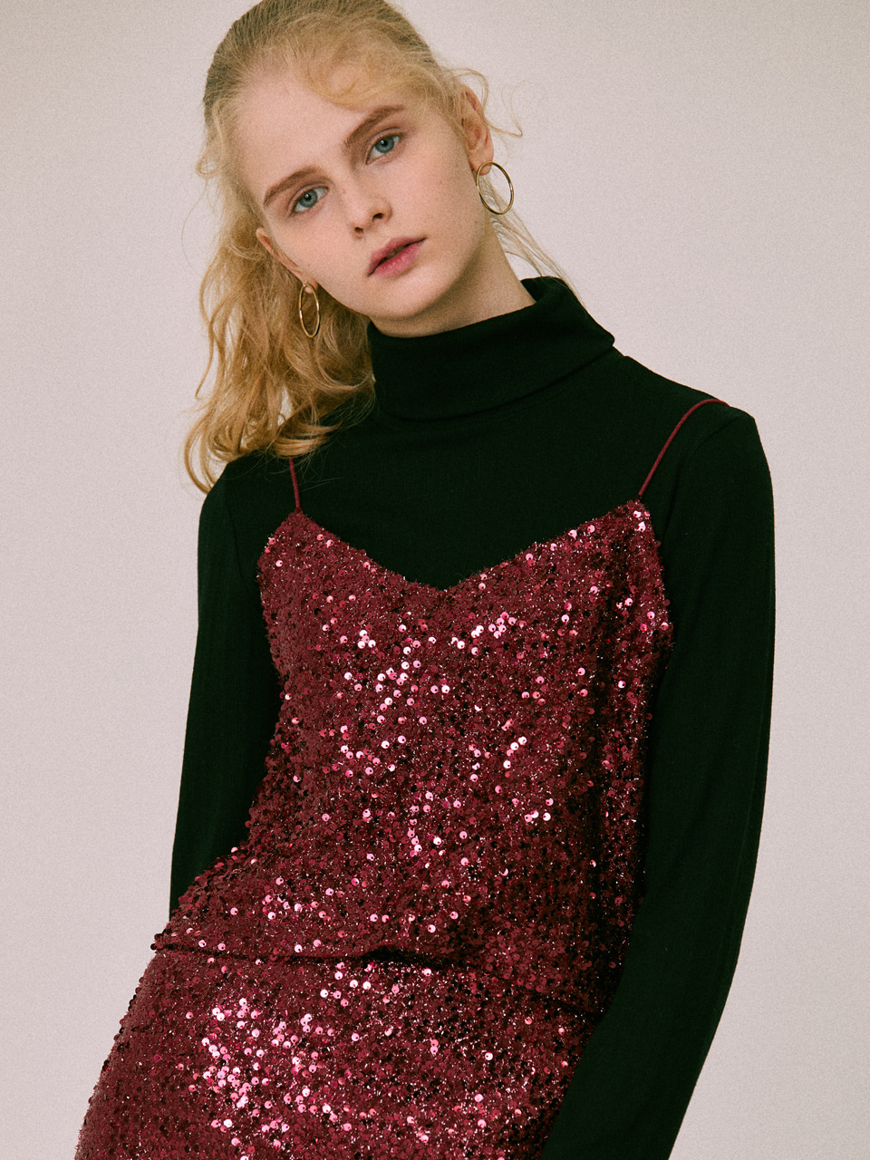 18W SEQUIN TOP(WINE)