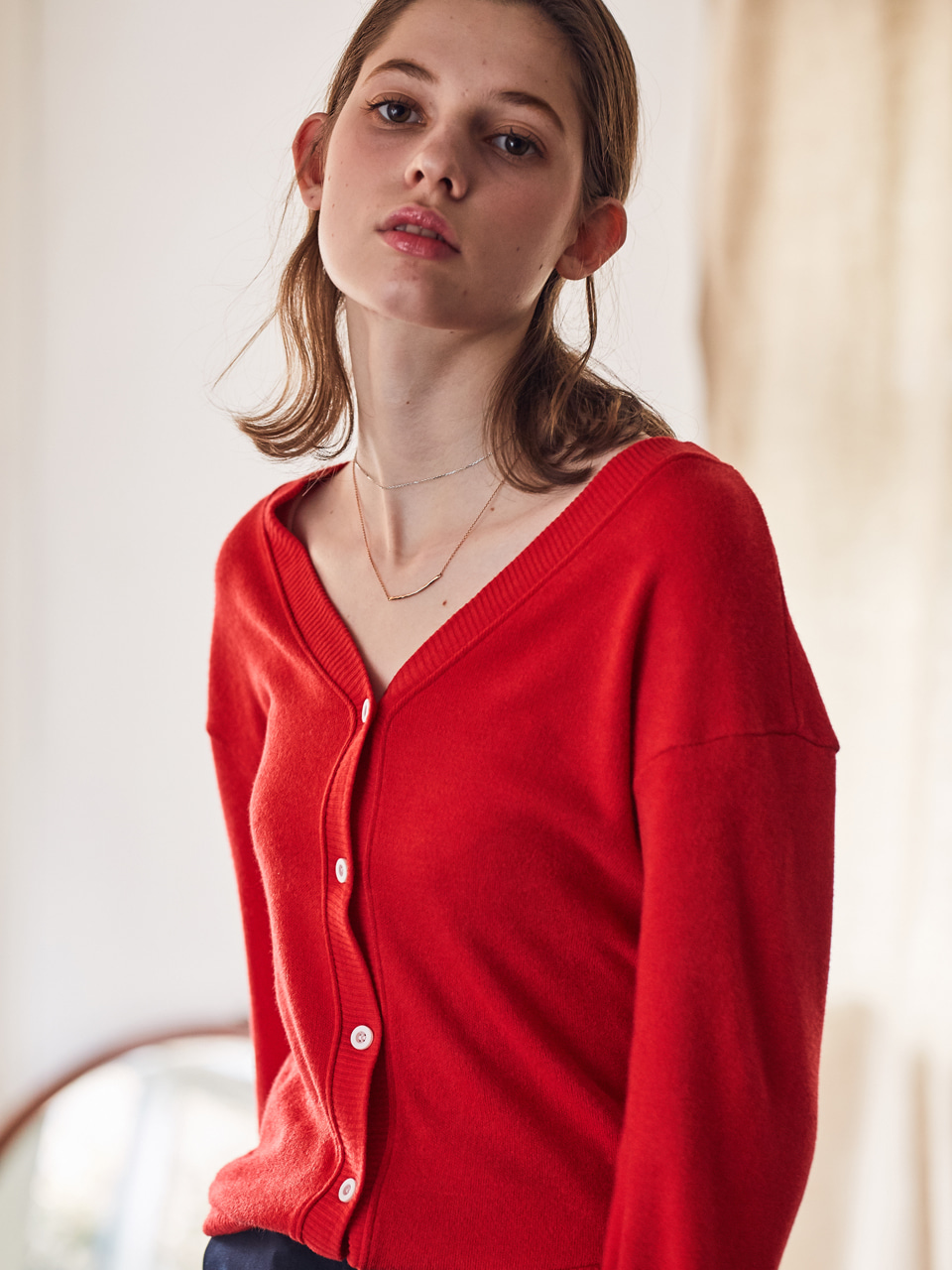 LS CARDIGAN(RED)