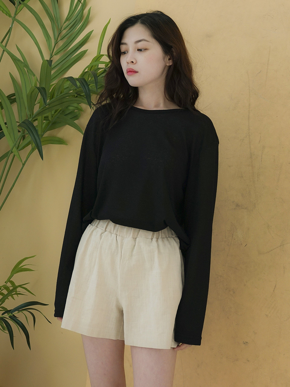 MTOF2 KNIT L SLEEVE TEE(BLACK)