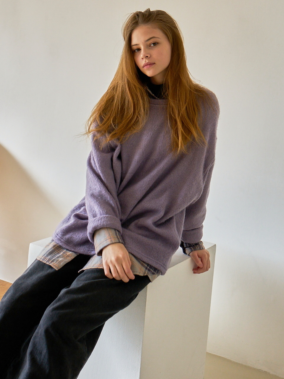 MTOF3 OVERSIZED KNIT TOP(VIOLET)