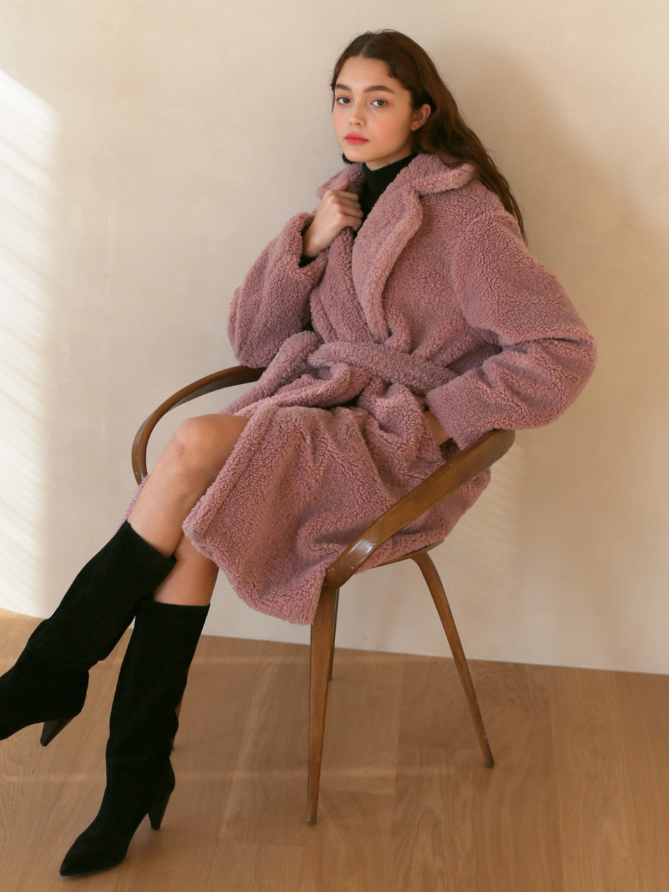 LH TEDDY BEAR BELTED COAT(PINK)