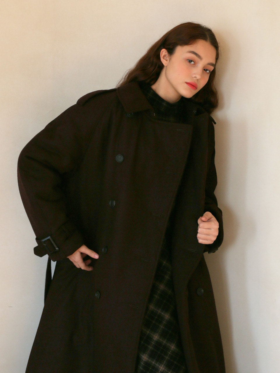LH PADDED TRENCH COAT(BROWN)