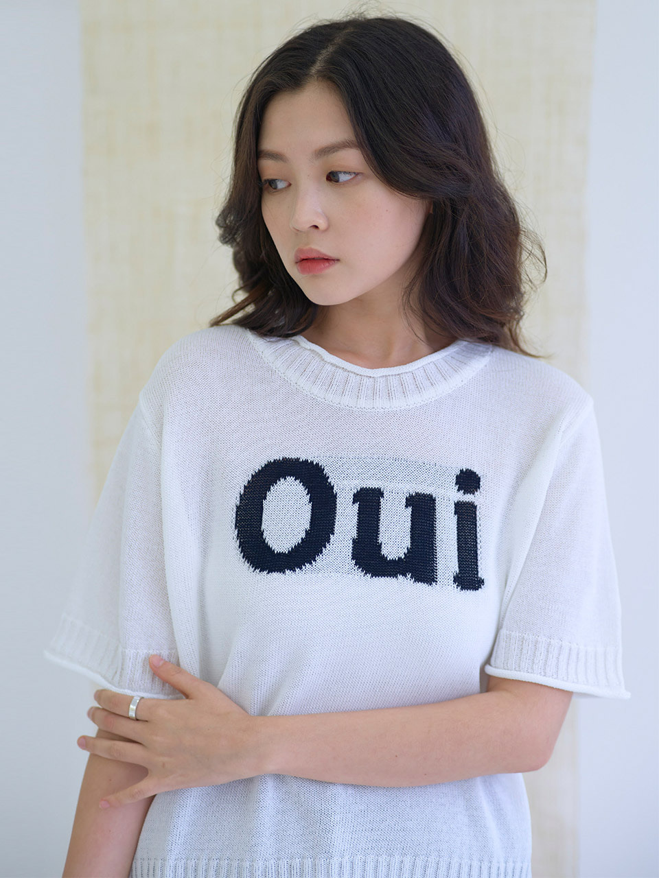 MTOF4 OUI KNIT TOP(NAVY)