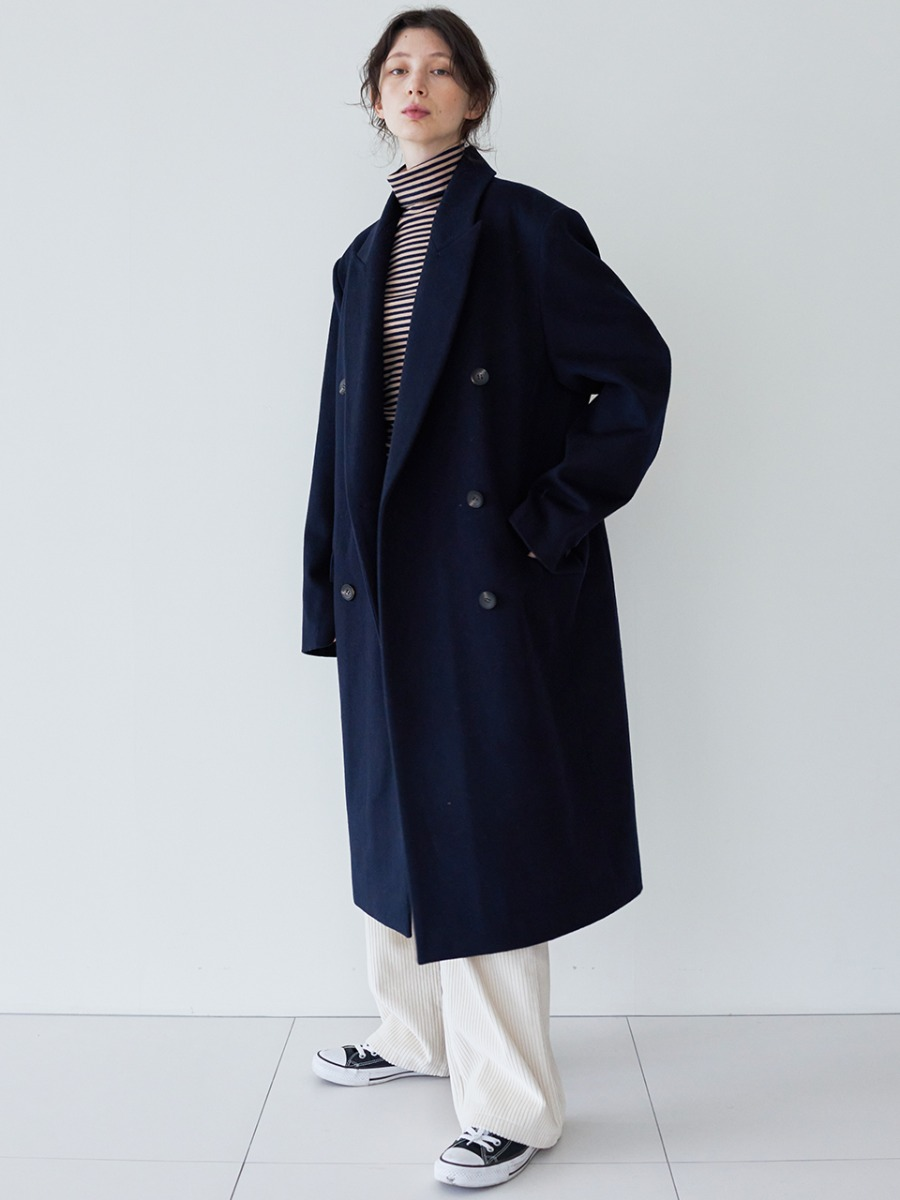 LTG7 DOUBLE-BREASTED WOOL COAT(NAVY)