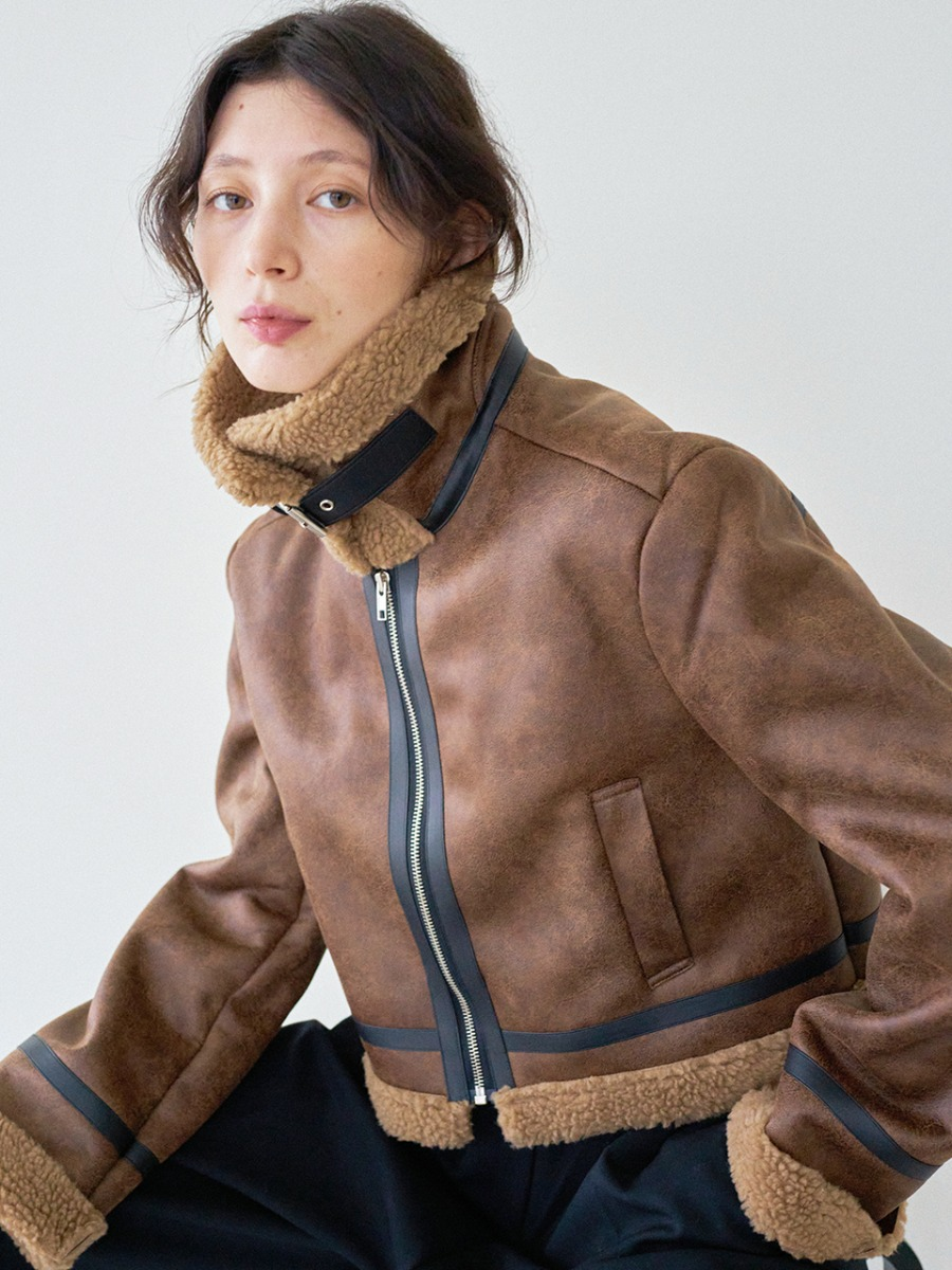 LTG7 CROP SHEARING JACKET(BROWN)