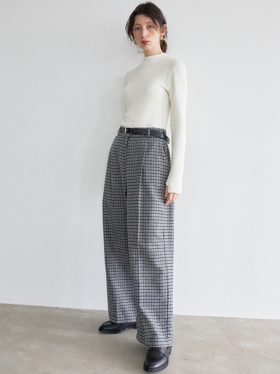 LTG7 CHECK WIDE SLACKS(GRAY)